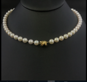 """Tiffany & Co 18K Gold Akoya Pearl Strand Signature X 18"""" Necklace w/ Suede Case"""