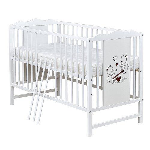Babybett Gitterbett Kinderbett 120x60 Weiß Teddybär Motiv mit Matratze
