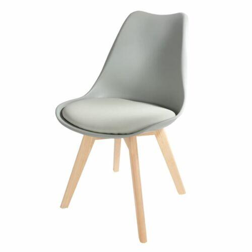 Schalenstuhl grau Esszimmerstuhl gepolstert Retro Sessel Küchenstuhl Schalensitz
