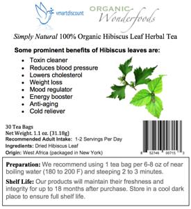 Simply Natural100 Organic Hibiscus Leaf Herbal Tea 30 Tea Bags