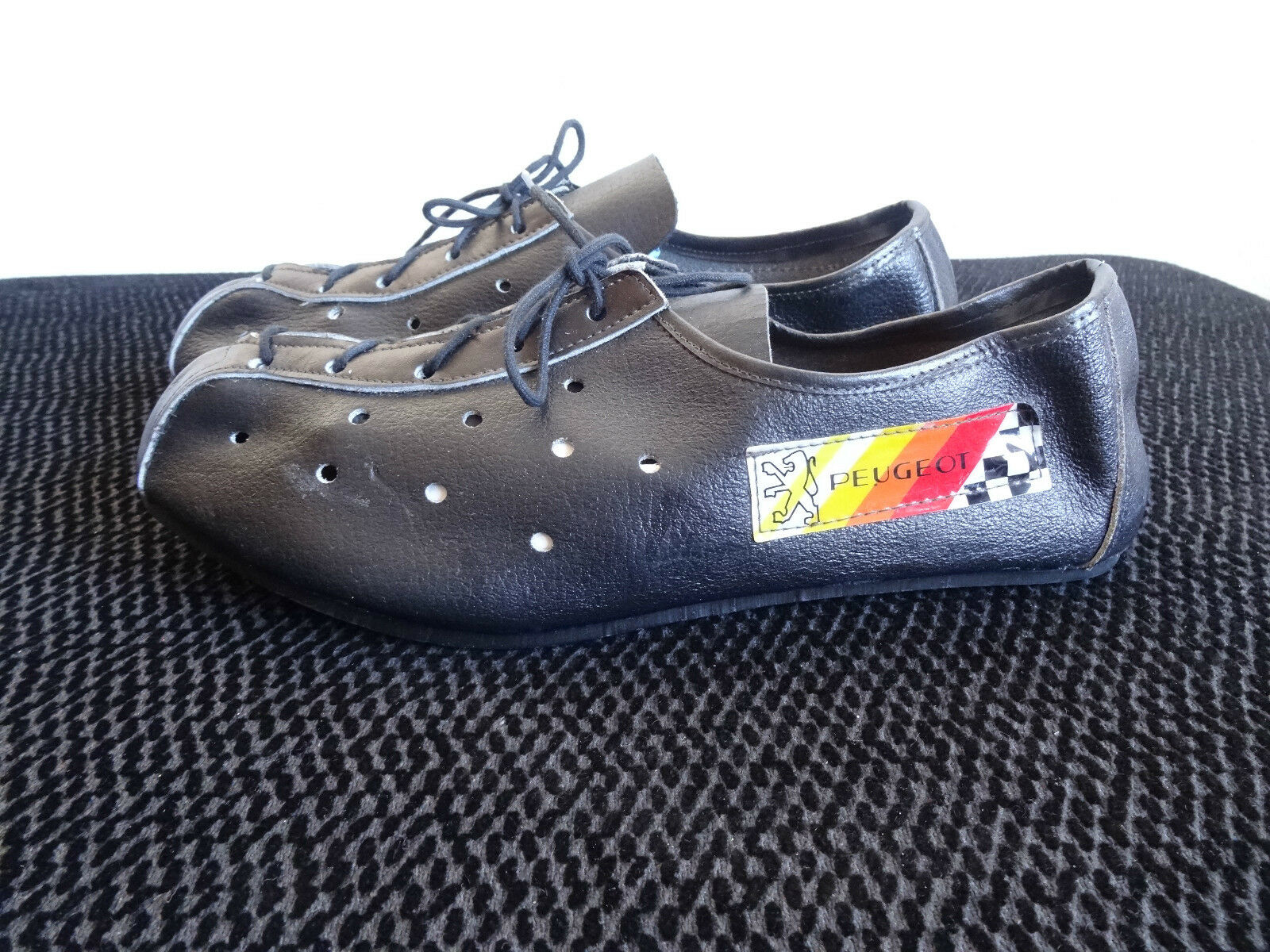 NOS RARE PEUGEOT VINTAGE LEATHER CYCLING scarpe Dimensione 39 7 CAMPAGNOLO HANDMADE