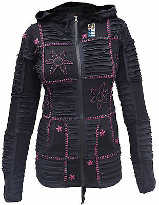 Black Razorcut Embroidery Patchwork Pixie Pointed Long Hood Jacket Hippie Hoodie