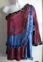 Faith $78 Dillards Ruffle Tiered One Sleeve Blue Burgundy Top Sz Xl