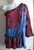 Faith $78 Dillards Ruffle Tiered One Sleeve Blue Burgundy Top Sz Xl