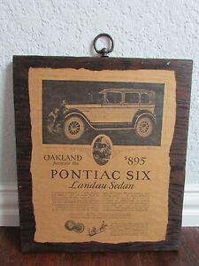"Liberal Vintage Advertisement Pontiac Six Wood Wall Hanging Sign ""landau Sedan"" Art"
