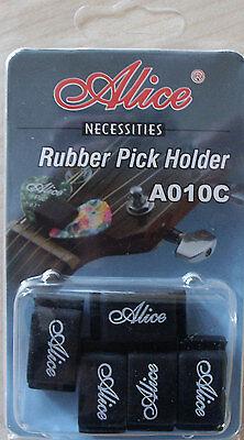 Pick Holder/Rubber-Gummi 5x,mit Plektren-Spielblättchen-Piks-10 Stück gemischt!n