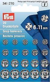 Prym pulsadores 6-11 mm de color plata 20 unidades 341270