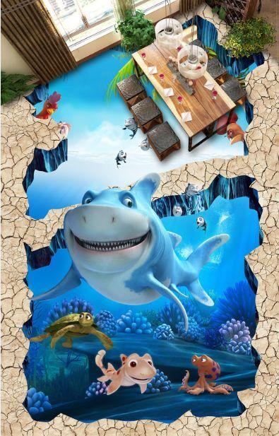 3D Netter lustiger Fisch 1 Fototapeten Wandbild Fototapete BildTapete Familie DE