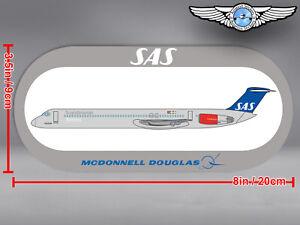 SAS SCANDINAVIAN ROUNDED RECTANGULAR MCDONNELL DOUGLAS MD80 MD 80 STICKER DECAL