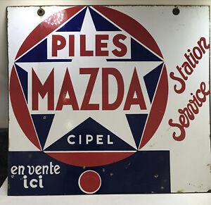 Antique Mazda Piles (batteries) Cipel Enamel Double Sided Sign 45 x 42cm