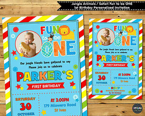 Jungle animals invitations invites fun to be one safari 1st birthday image is loading jungle animals invitations invites fun to be one stopboris Choice Image