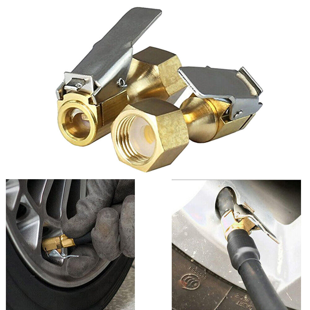 Tire Inflator Valve Connector Tire Inflator Lock-on Air Chuck Flow Air Chuck with Clip