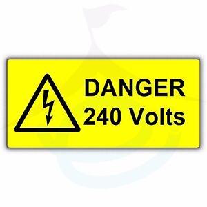 Danger Voltage Labels Stickers 50mm X 25mm 110v 240v Self