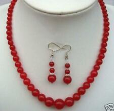 Natural 6-14mm Red Ruby Round Beads Necklace Earrings 17 Inch
