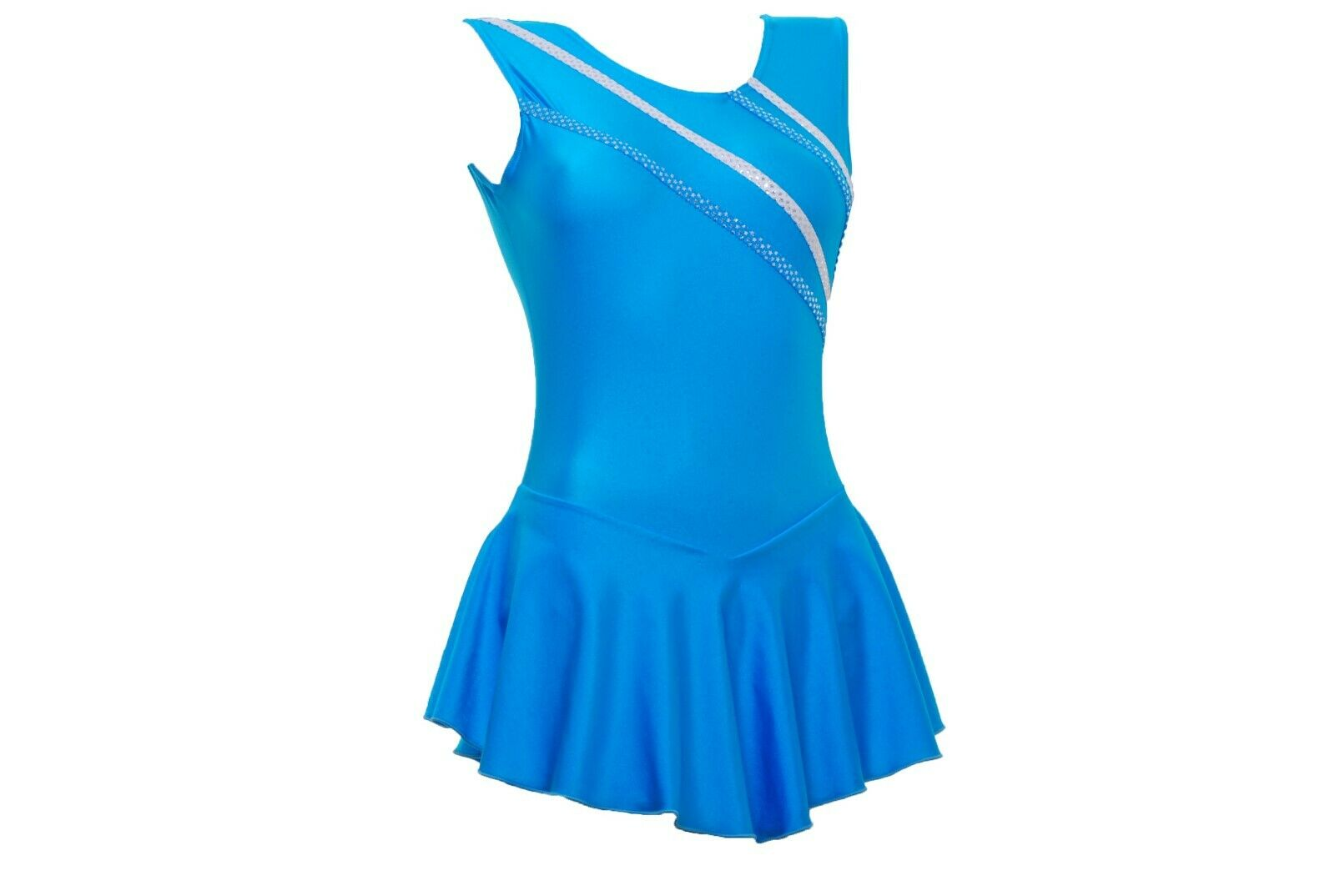 Skating Dress -Turquoise LYCRA   Metalic stripes NO SLEEVE ALL SIZES AVAILABLE