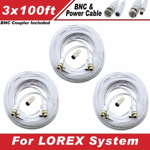 WHITE PREMIUM 300FT CCTV SURVEILLANCE BNC CABLES F// 16CH LOREX LH-1896 Eco3