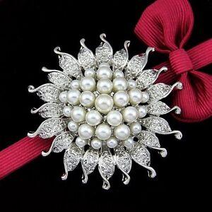 NEW Rhinestone Crystal Wedding Bridal Bouquet Silver Flower Pearl Brooch Pin