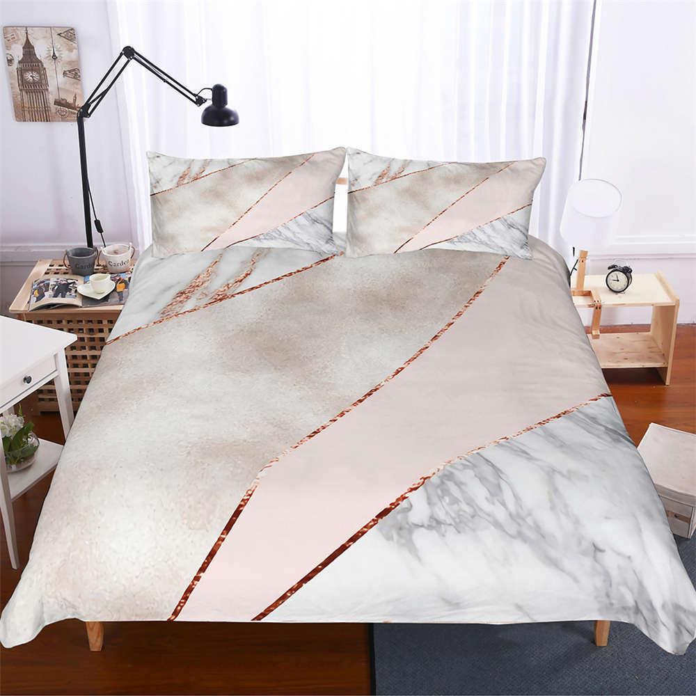 Simple braun Dividing Line 3D Digital Print Bedding Duvet Quilt Cover Pillowcase