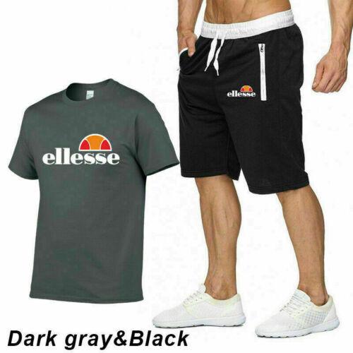 Mens Summer Tracksuits Set T-Shirt Shorts Gym Jogger Jogging Running UK