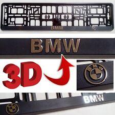 Black 3D BMW European Euro License Number Plate Holder Mounting Frame German EU & German Characters German Euro Pressed Metal Number Plates Embossed ...