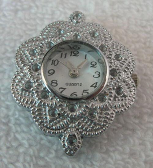 5PCS Silver Quartz Beading Watch face flower W8438