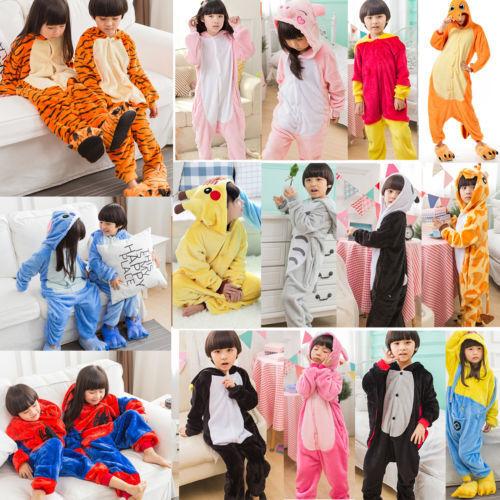 Kid Boy Girl Kigurumi Animal Pajamas Nightwear Winter Cartoon Sleepwear Bathrobe