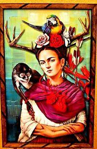 Art-Print-Painting-Mexico-Frame-Frida-Kahlo-034-Broken-Hearth-034-Parrot-17-034-X-13-034-Larg