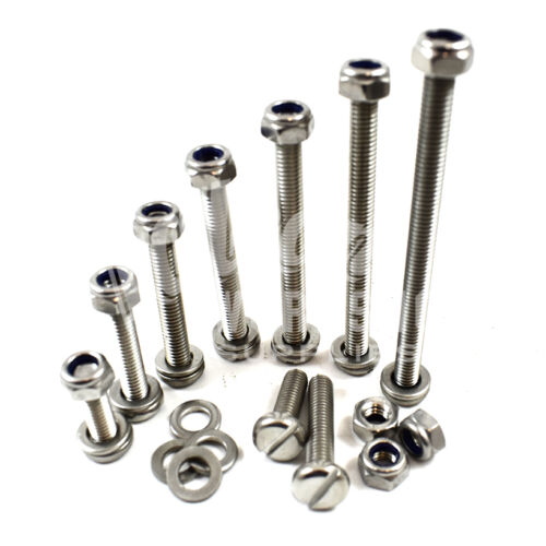 M4 /& M5 A2 STAINLESS MACHINE SLOTTED PAN HEAD SCREWS WITH NYLOC NUTS WASHERS