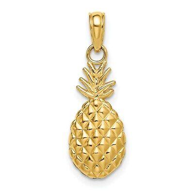 14K Yellow Gold 2-D Textured Pineapple Pendant