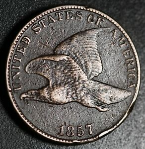 1857-FLYING-EAGLE-CENT-Near-VF-VERY-FINE-Details