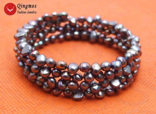 """4-5 mm ROSE Perle Baroque Fil d/'acier Wrap Bracelet Pour Femmes Bijoux 28/' /""""bra450"""