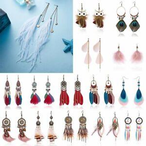 Boho-Dreamcatcher-Feather-Tassels-Ear-Hook-Earrings-Drop-Dangle-Women-Jewelry