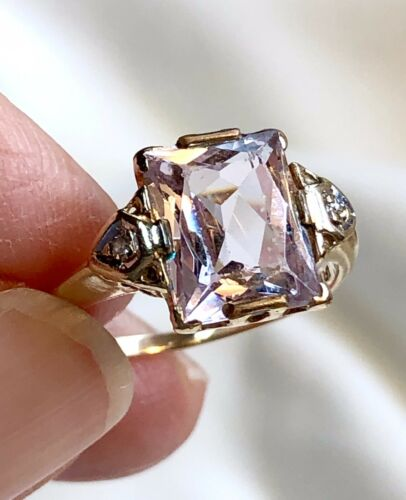 Vintage 14K Yellow Gold Amethyst Ring 1940's
