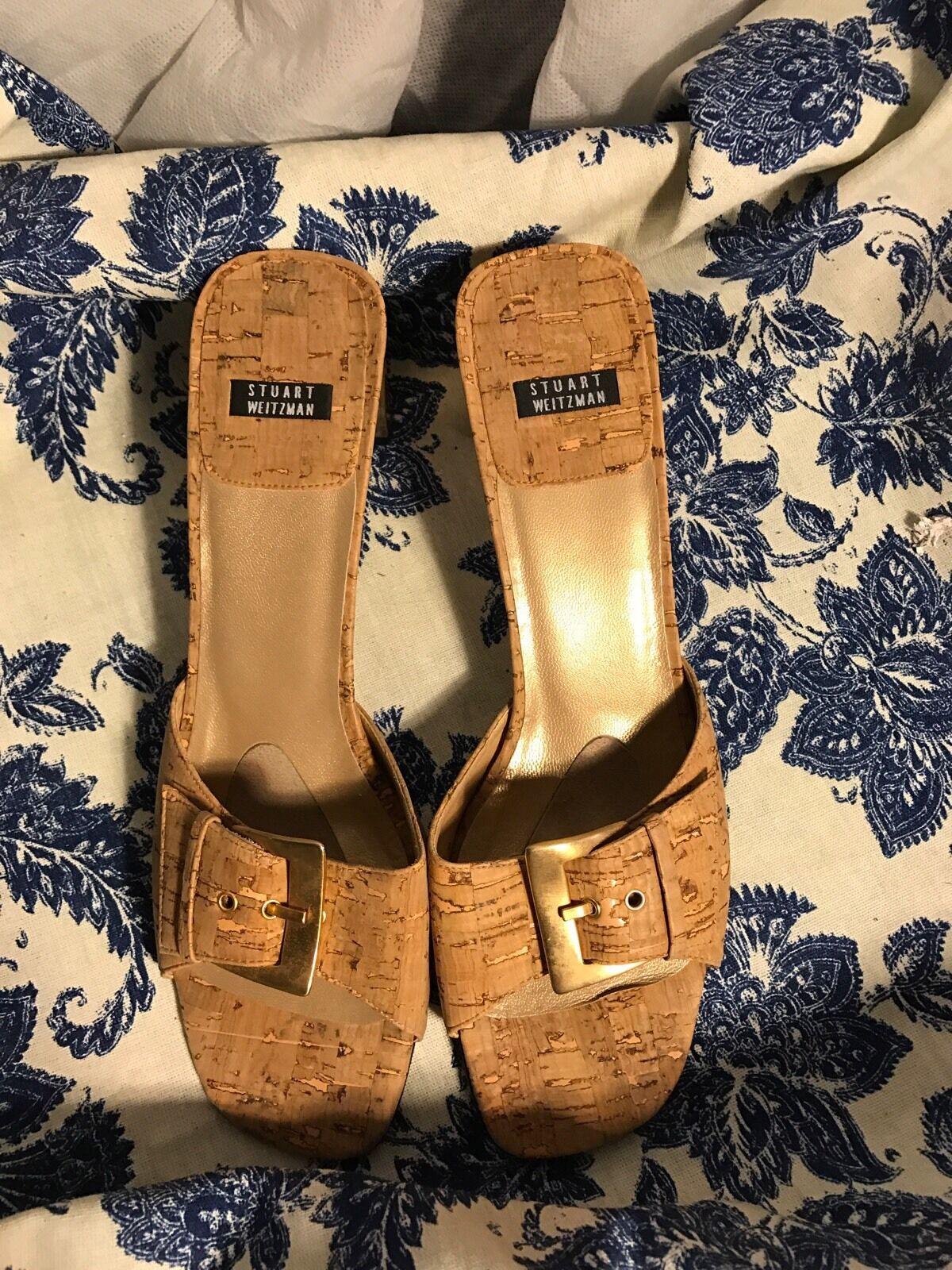 Stuart Weitzman Cork Gold Heels Size 8