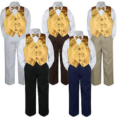 4pc Boys Suit Set Yellow Sunbeam Vest Bow Tie Baby Toddler Kids Formal Pants S-7