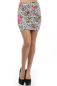 Skirt-Mini-Floral-Leopard-Animal-Print-S-M-L-Pink-Fold-Over-Waist-Summer-New