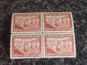NEWFOUNDLAND-POSTAGE-STAMPS-SG289-48C-RED-BROWN-BLOCK-OF-4-2x-LMM-amp-2x-UMM