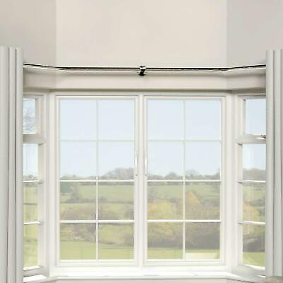 Bay Window Chrome Metal Curtain Pole Accessories Brackets Corner Joints Rings Ebay