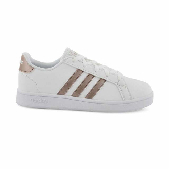 Adidas KIDS Grand Court Shoes Sneakers EF0101 White Copper Metallic Pink 7 NEW