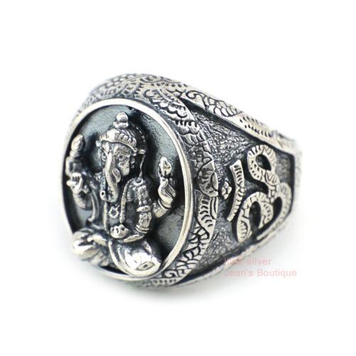 925 Sterling Silver Lord Hindu Ganesha Om Lotus Namaste Ring For Men A3298
