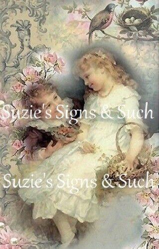 Fabric Block Vintage Altered Postcard Elegant Victorian Romantic Chic Shabby~