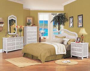 B579 White Santa Cruz Wicker and Rattan Bedroom 4 Pc. Set from Seawinds Trading