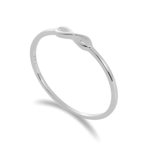 925 Real Sterling Silver Infinity Loop 1mm Stacking Ring Size I W Forever Love