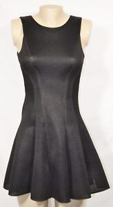 LOVE-ADY-Black-Mesh-Look-Sleeveless-Dress-XS-Fit-amp-Flare-Lined-Exposed-Zipper