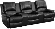 BLACK LEATHER PILLOWTOP 3-SEAT HOME THEATER RECLINER WITH STORAGE CONSOLES