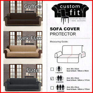 Couch-Sofa-Cover-Protector-1-2-3-Seater-Latte-Charcoal-Slate-Custom-Fit-New
