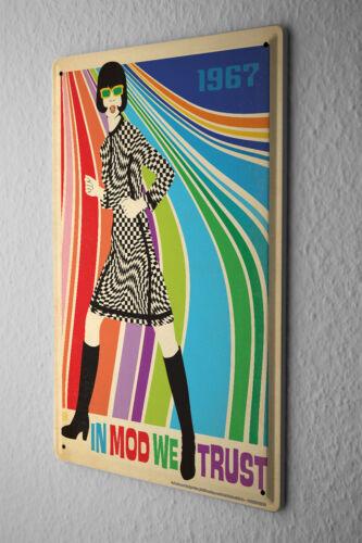 Retro Tin Sign  In mod we trust women dress plaid colorful stripes 1967