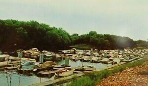 La-Crosse-Boot-Club-Pettibone-Island-Wisconsin-Boat-Yard-Chrome-Vintage-Postcard