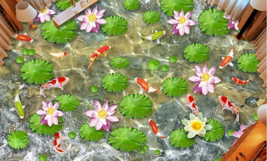 3D water fish flower 32 32 32 Floor WallPaper Murals Wall Print Decal 5D AJ WALLPAPER b26aa3