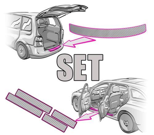 Seuils Set 3d carbon ARGENT 5 porte Opel Corsa E Chargement